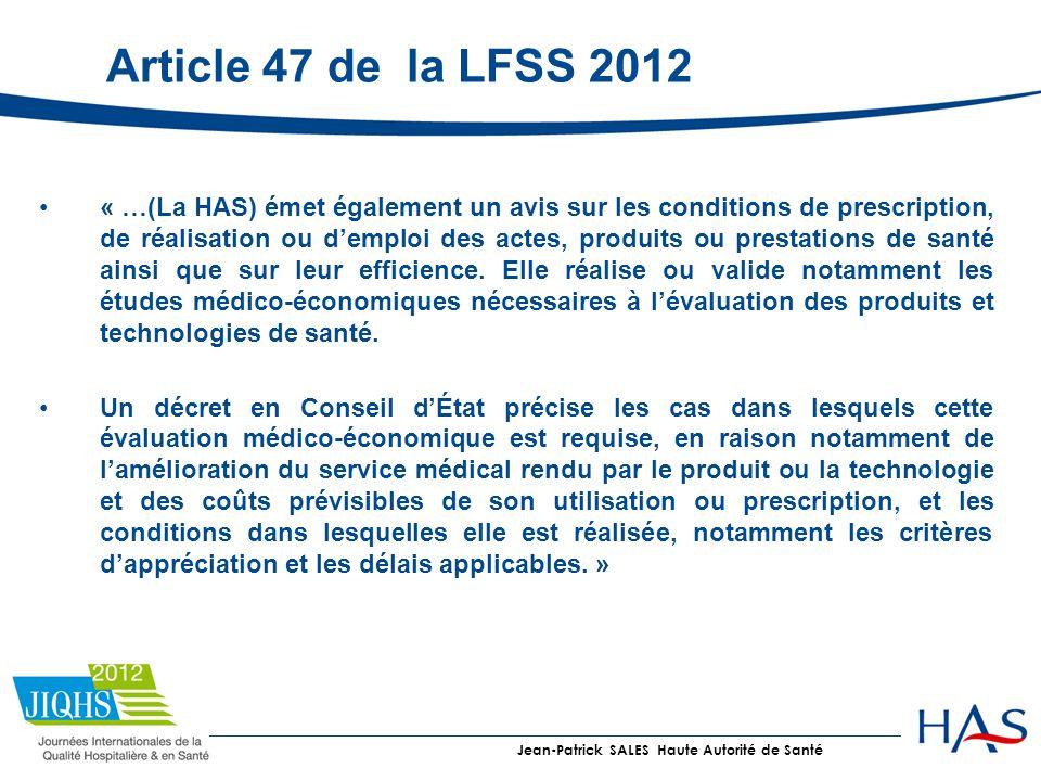 Article 47 de la LFSS 2012