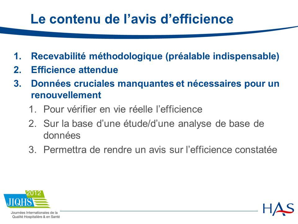 Le contenu de l'avis d'efficience