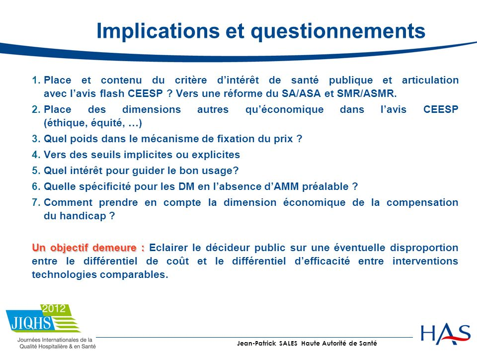 Implications et questionnements