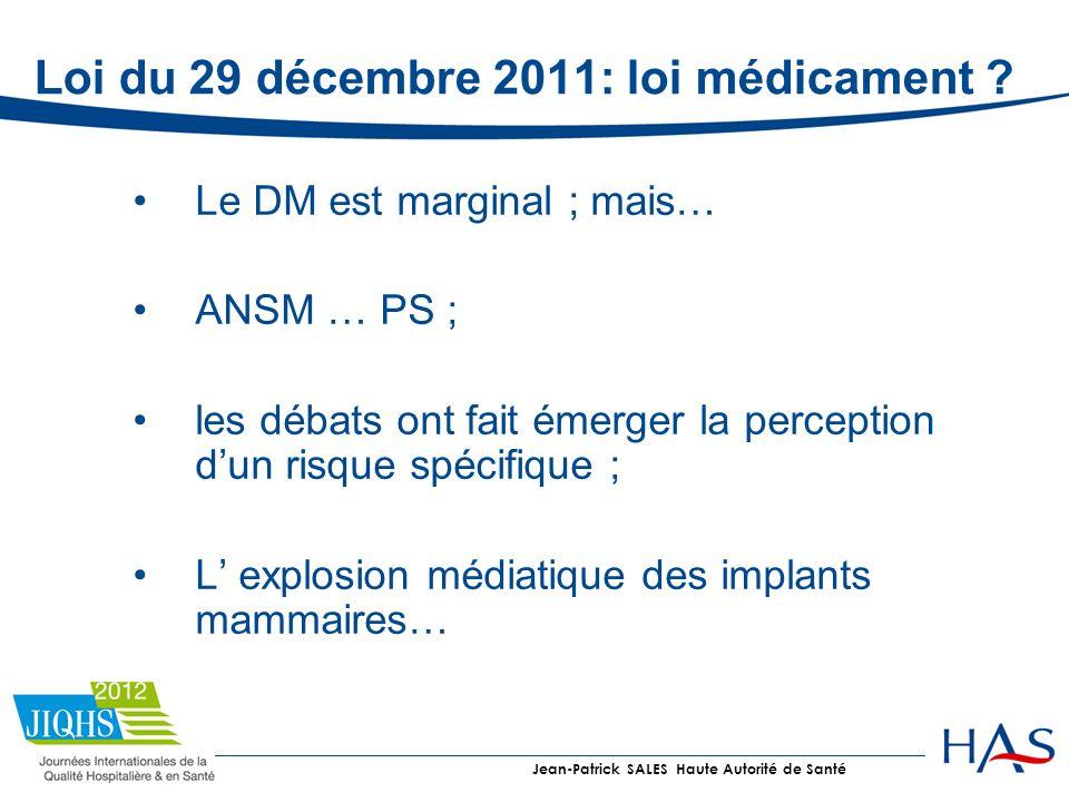 Loi du 29 décembre 2011: loi médicament