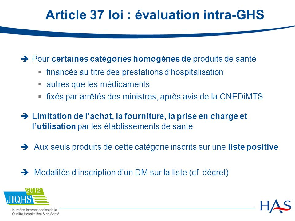 Article 37 loi : évaluation intra-GHS