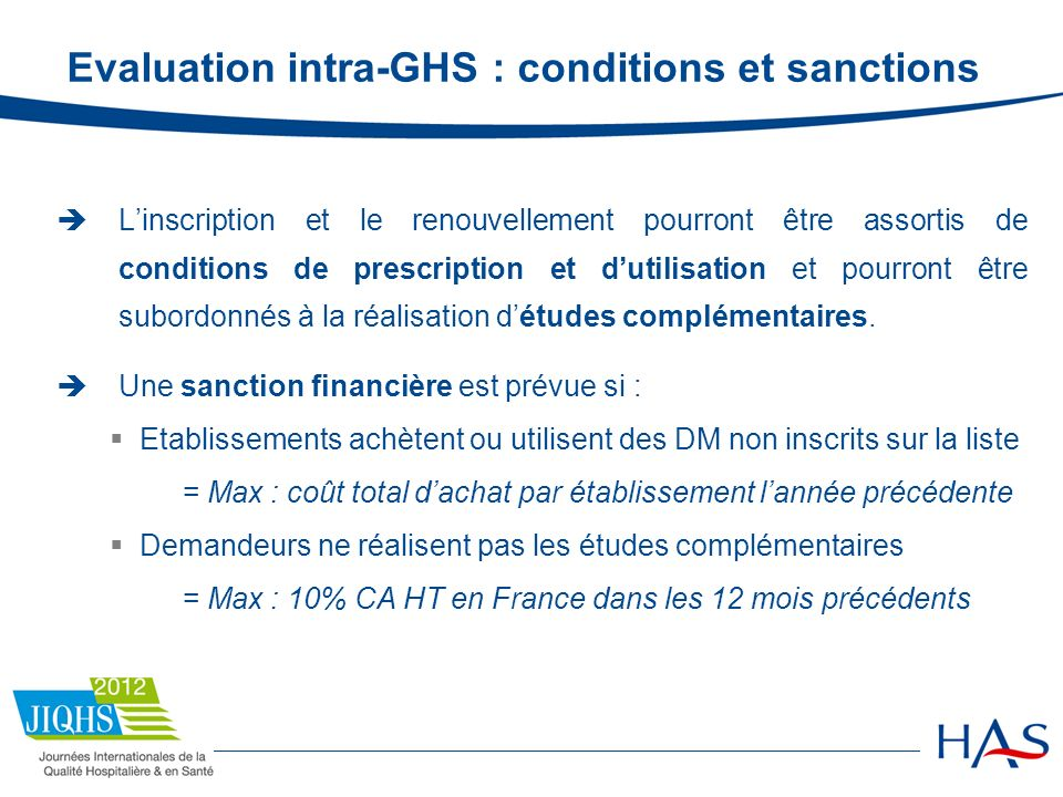 Evaluation intra-GHS : conditions et sanctions