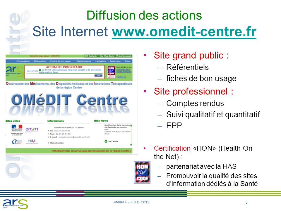 Diffusion des actions Site Internet www.omedit-centre.fr
