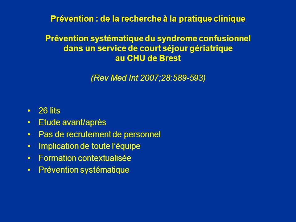 Prévention : de la recherche à la pratique clinique Prévention systématique du syndrome confusionnel dans un service de court séjour gériatrique au CHU de Brest (Rev Med Int 2007;28:589-593)