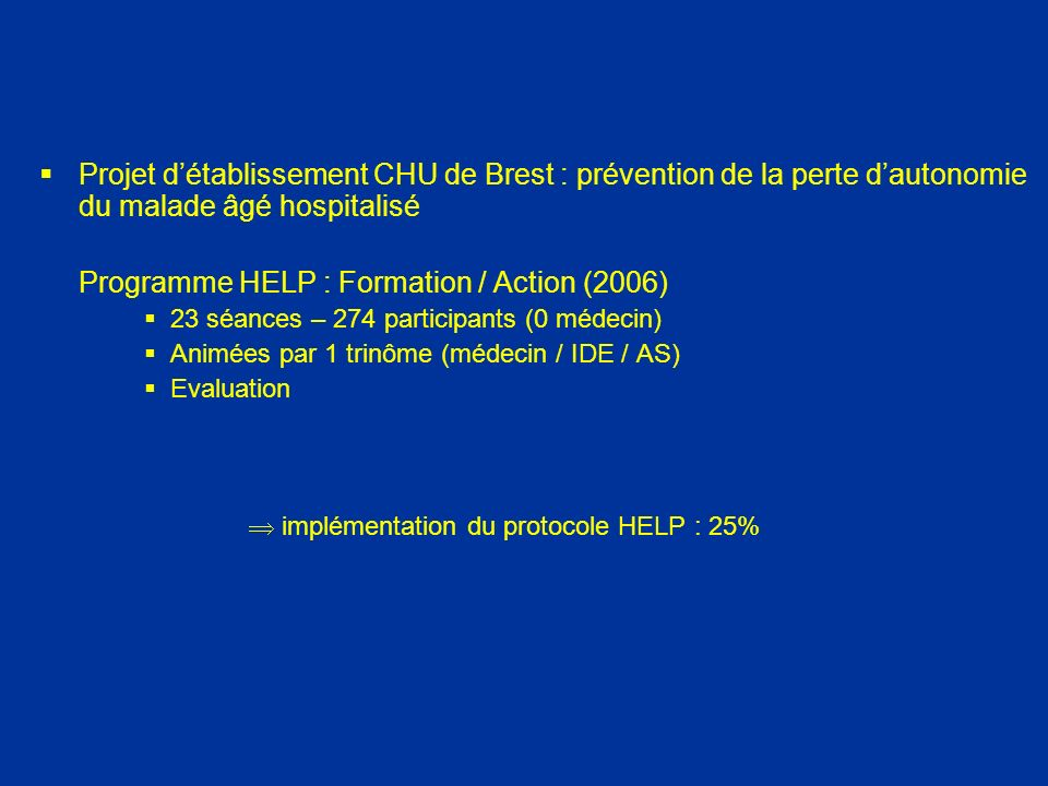 Programme HELP : Formation / Action (2006)