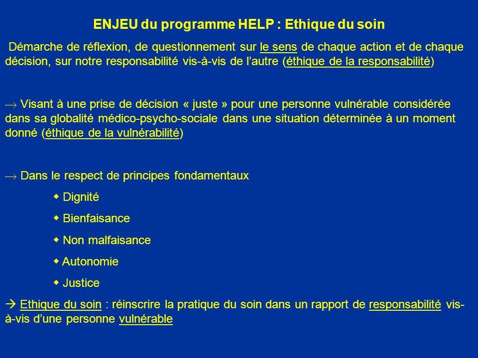 ENJEU du programme HELP : Ethique du soin