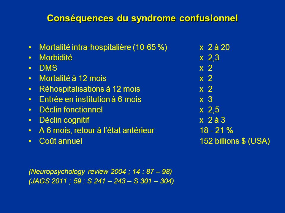 Conséquences du syndrome confusionnel