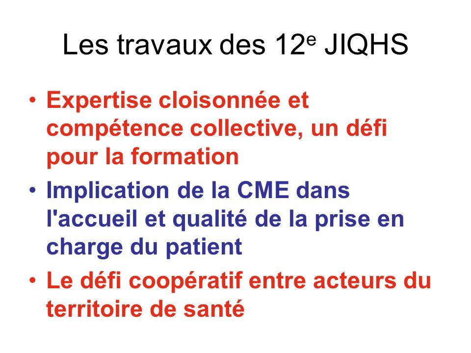 Les travaux des 12e JIQHS Expertise cloisonnée et compétence collective, un défi pour la formation.
