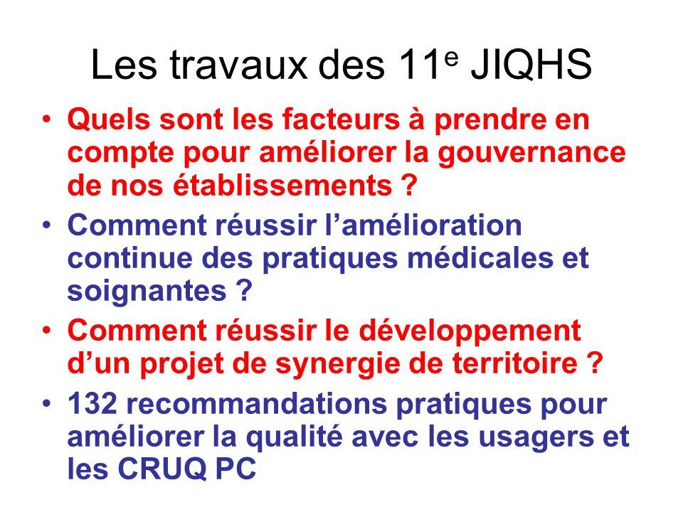 Les travaux des 11e JIQHS Quels sont les facteurs à prendre en compte pour améliorer la gouvernance de nos établissements