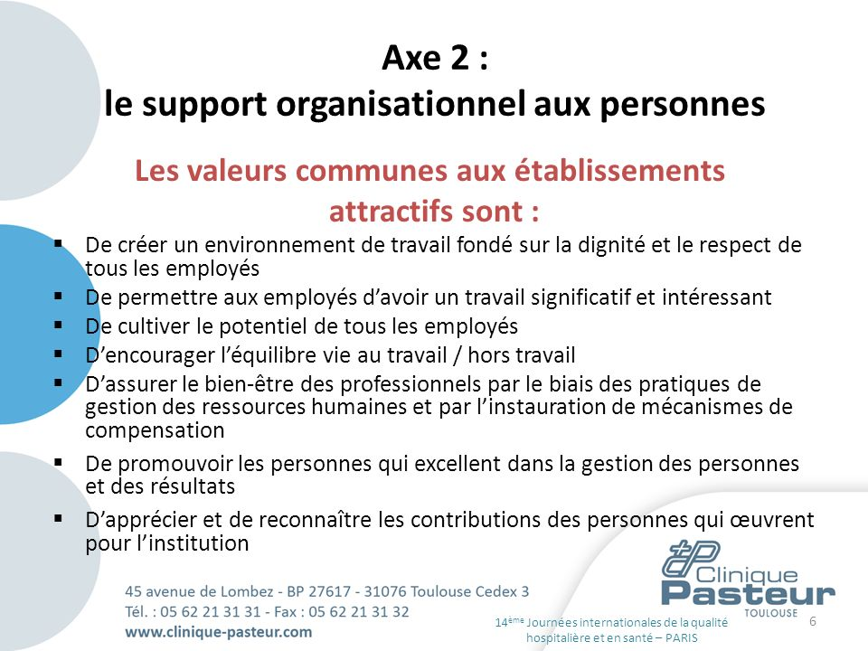 Axe 2 : le support organisationnel aux personnes