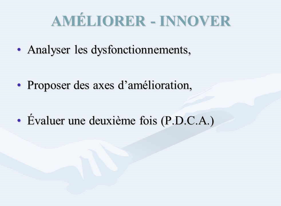 AMÉLIORER - INNOVER Analyser les dysfonctionnements,