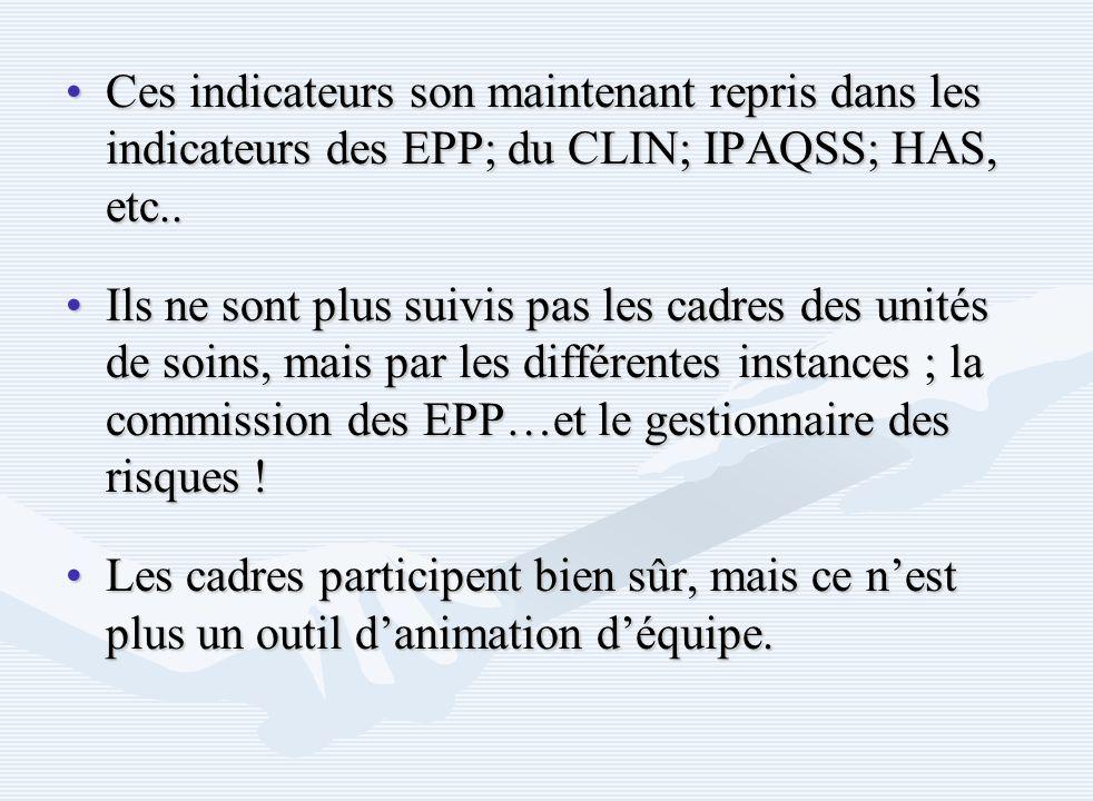 Ces indicateurs son maintenant repris dans les indicateurs des EPP; du CLIN; IPAQSS; HAS, etc..
