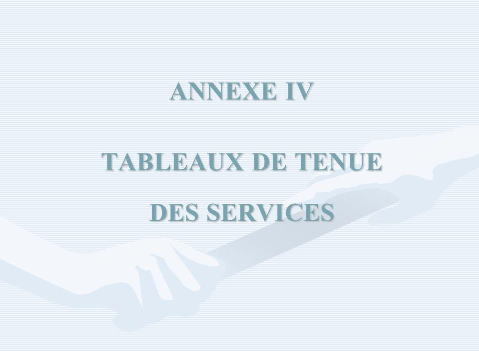 ANNEXE IV TABLEAUX DE TENUE DES SERVICES