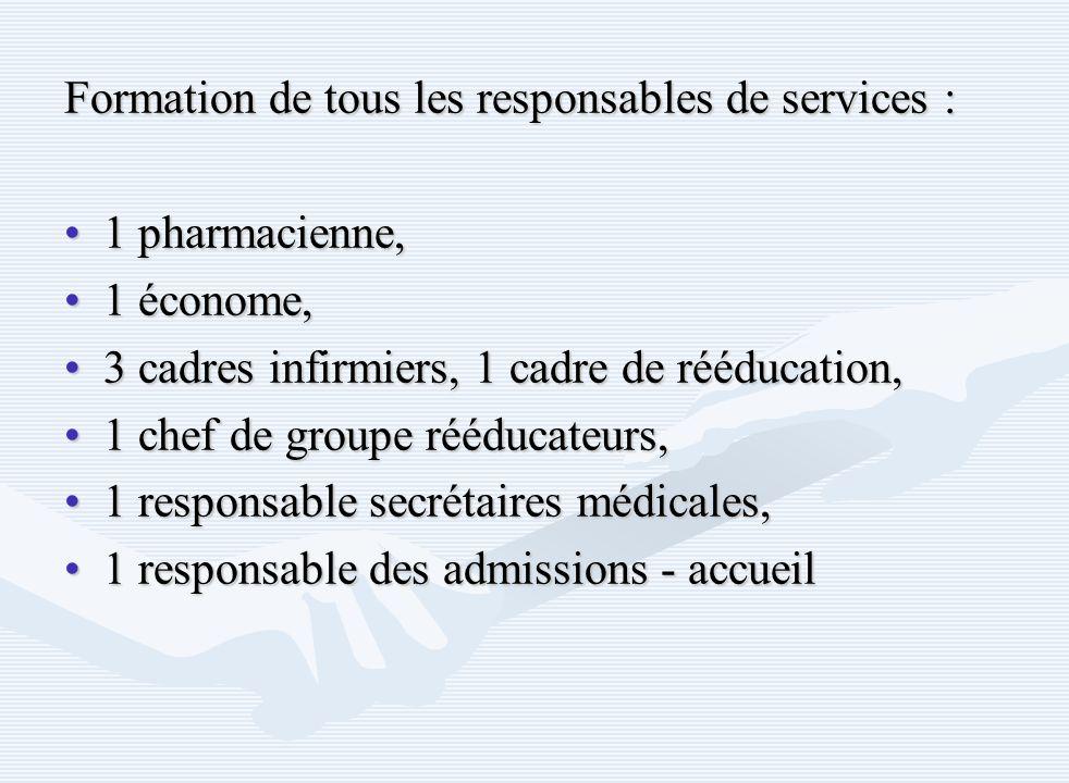 Formation de tous les responsables de services : 1 pharmacienne,