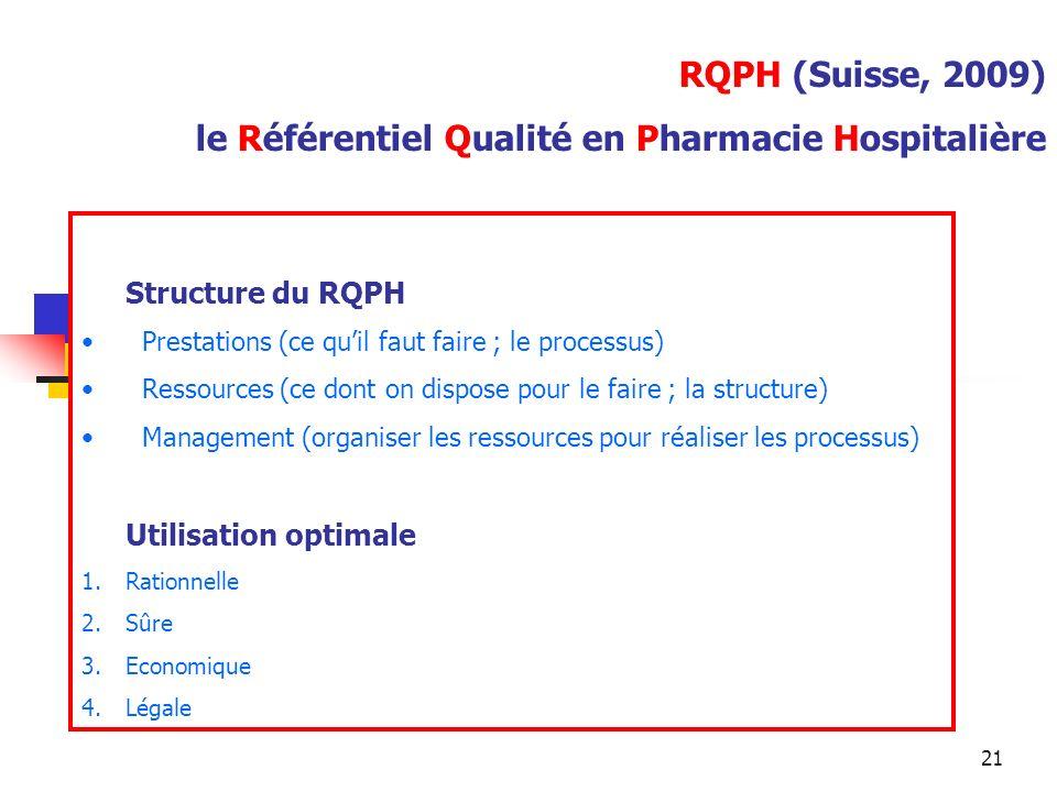 RQPH (Suisse, 2009) le Référentiel Qualité en Pharmacie Hospitalière