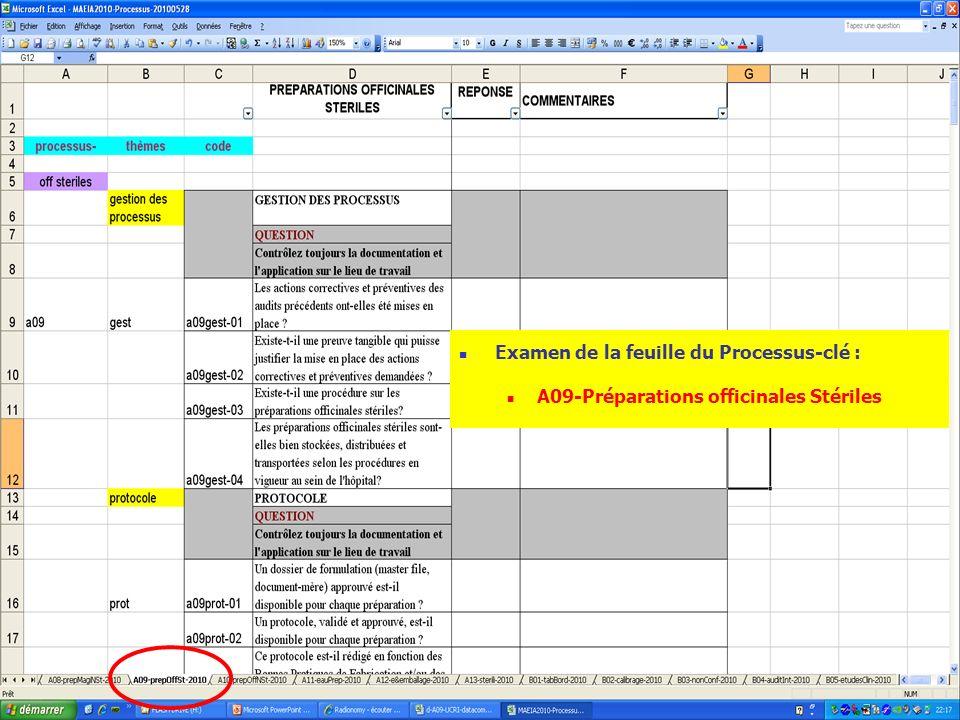 Examen de la feuille du Processus-clé :