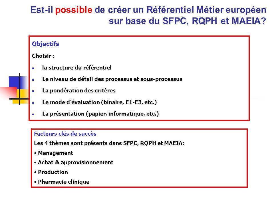 Est-il possible de créer un Référentiel Métier européen sur base du SFPC, RQPH et MAEIA