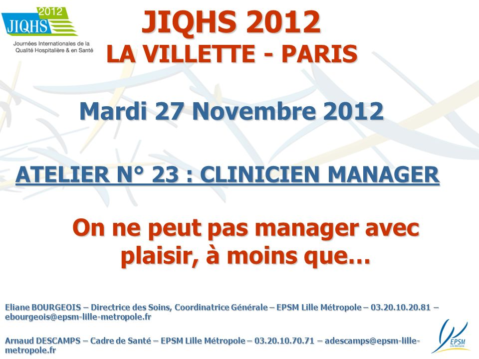 JIQHS 2012 LA VILLETTE - PARIS Mardi 27 Novembre 2012