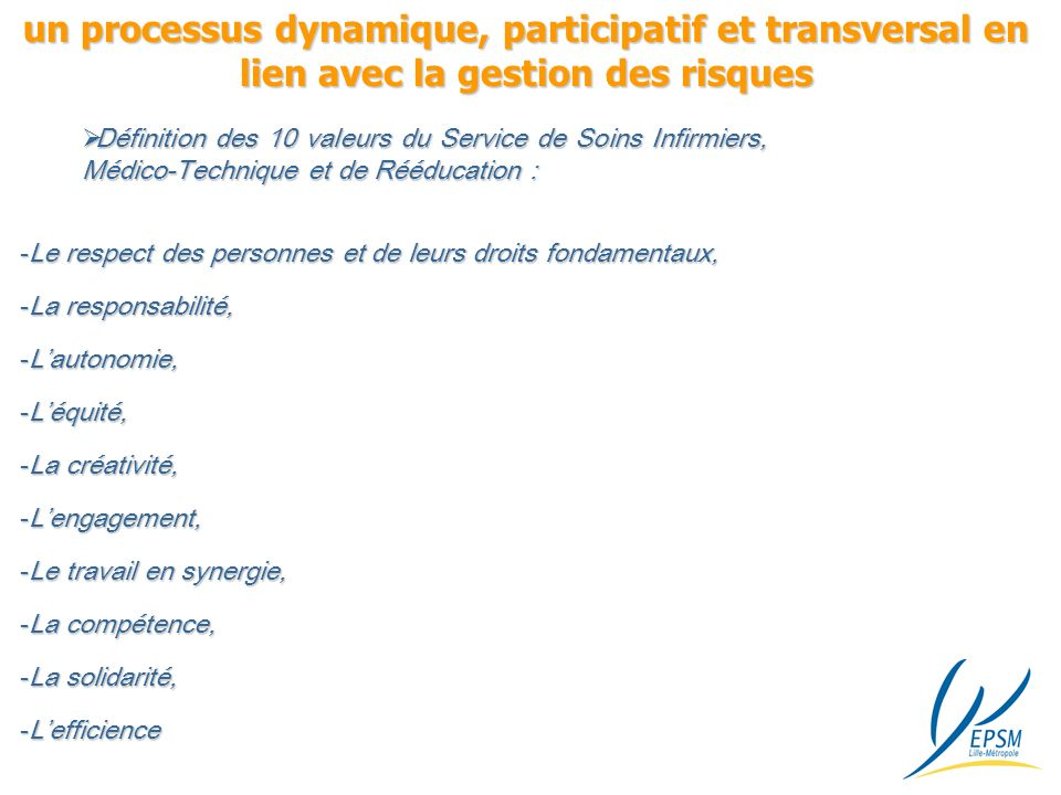 un processus dynamique, participatif et transversal en lien avec la gestion des risques
