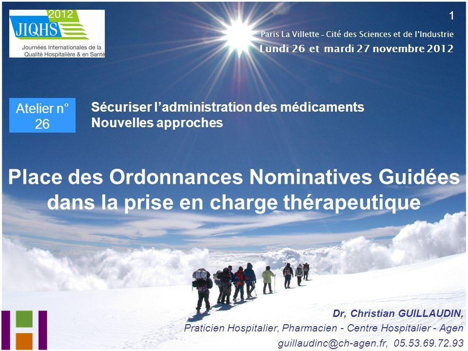1 Paris La Villette - Cité des Sciences et de l'Industrie. Lundi 26 et mardi 27 novembre 2012. Atelier n° 26.