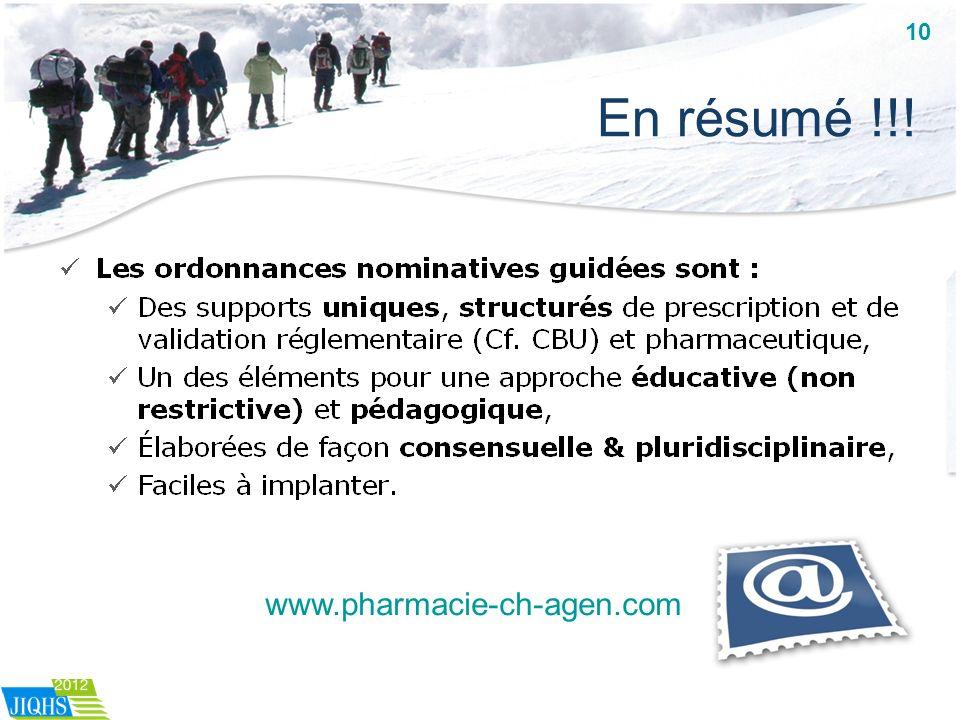 10 En résumé !!! www.pharmacie-ch-agen.com