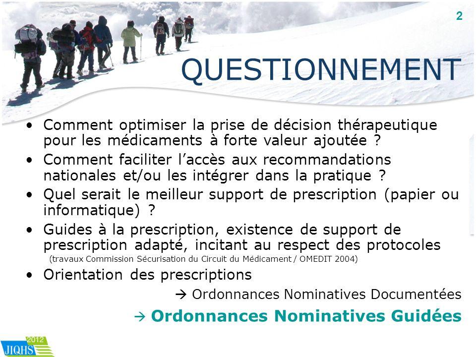 2 QUESTIONNEMENT. Comment optimiser la prise de décision thérapeutique pour les médicaments à forte valeur ajoutée