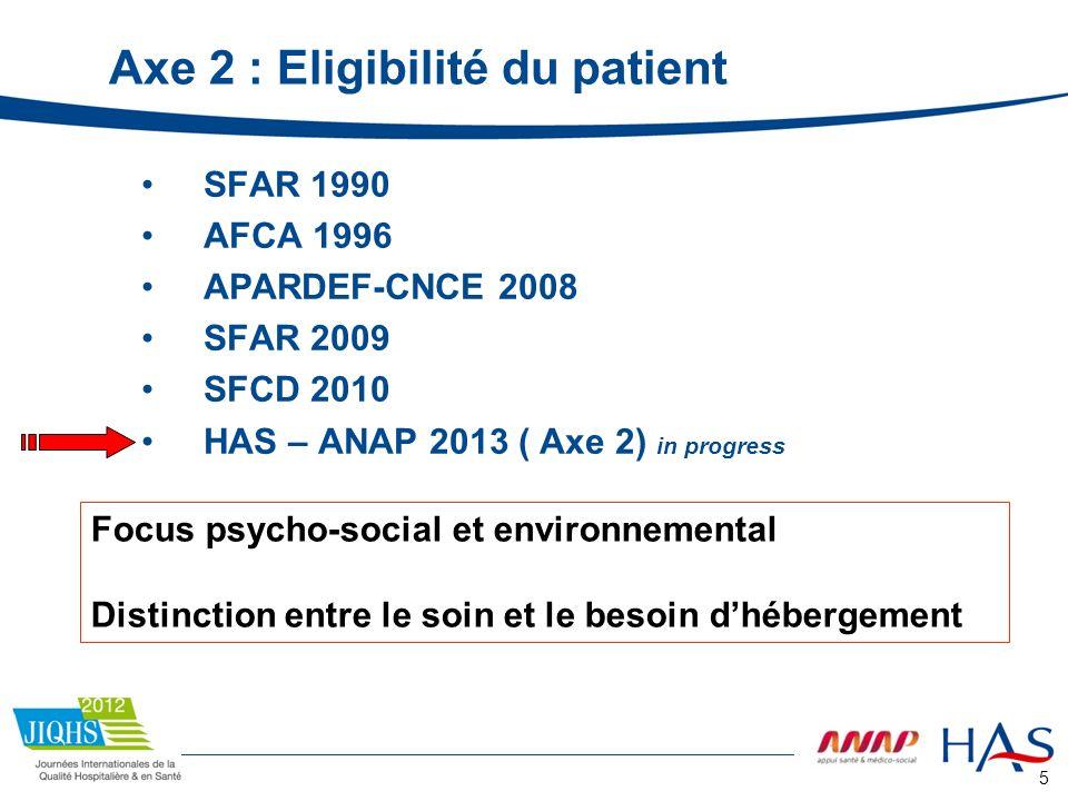 Axe 2 : Eligibilité du patient