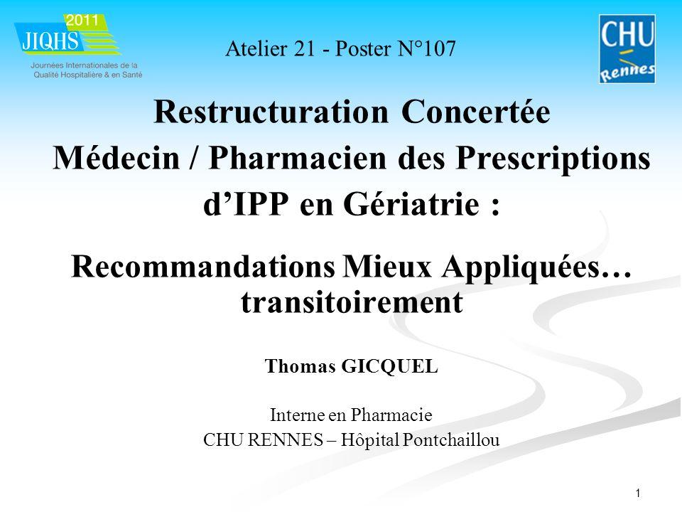 Restructuration Concertée Médecin / Pharmacien des Prescriptions
