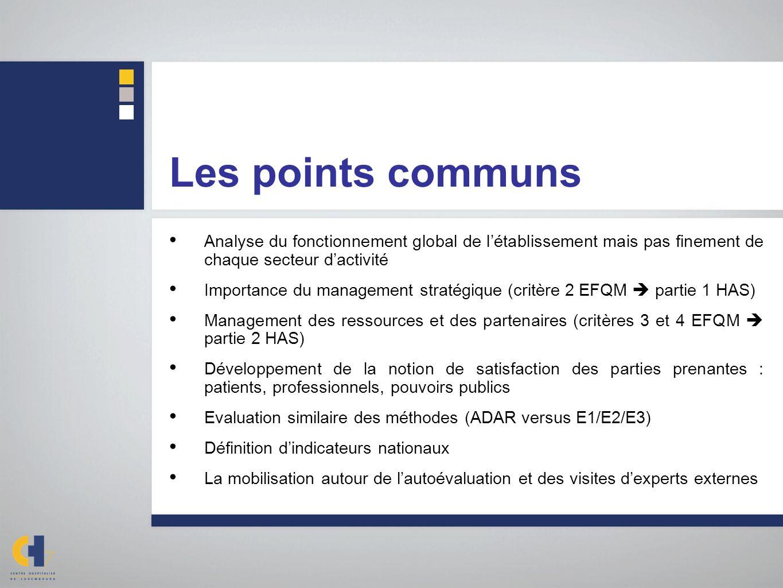 Les points communs Analyse du fonctionnement global de l'établissement mais pas finement de chaque secteur d'activité.