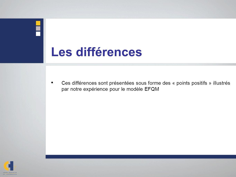 Les différences Ces différences sont présentées sous forme des « points positifs » illustrés par notre expérience pour le modèle EFQM.