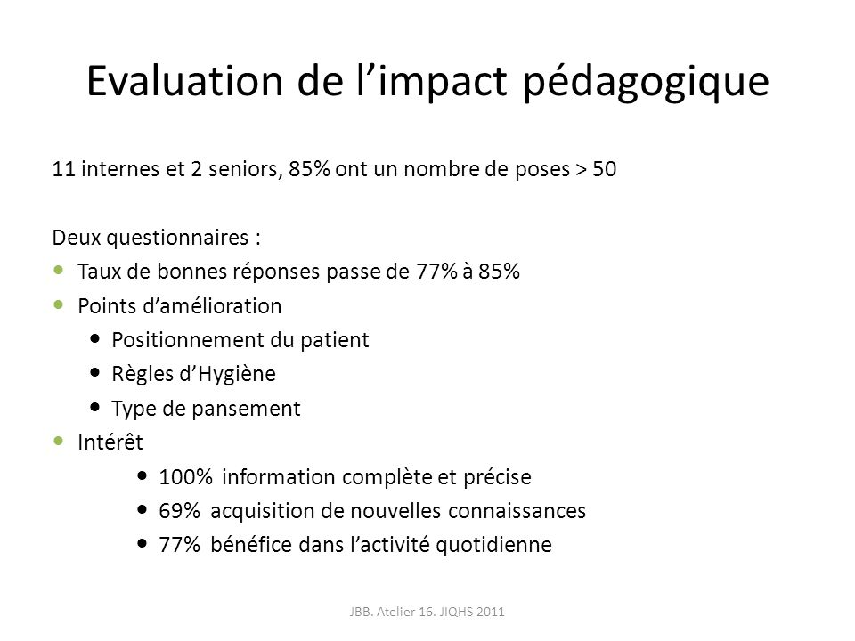 Evaluation de l'impact pédagogique