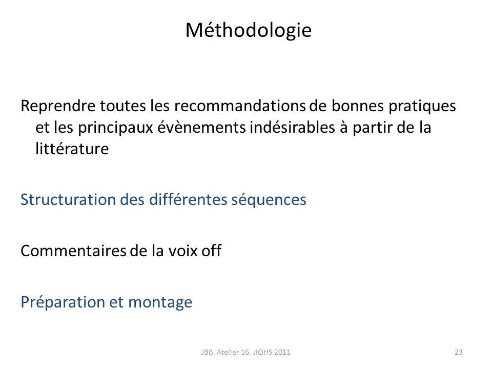 Méthodologie Reprendre toutes les recommandations de bonnes pratiques et les principaux évènements indésirables à partir de la littérature.