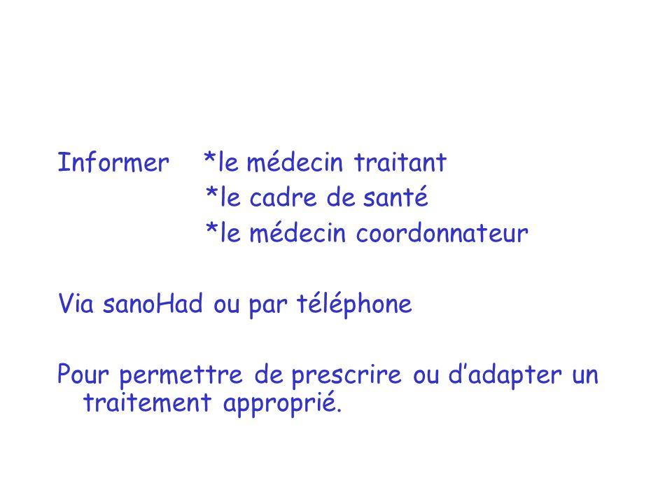 Informer *le médecin traitant