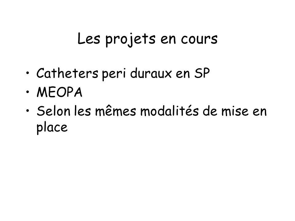 Les projets en cours Catheters peri duraux en SP MEOPA
