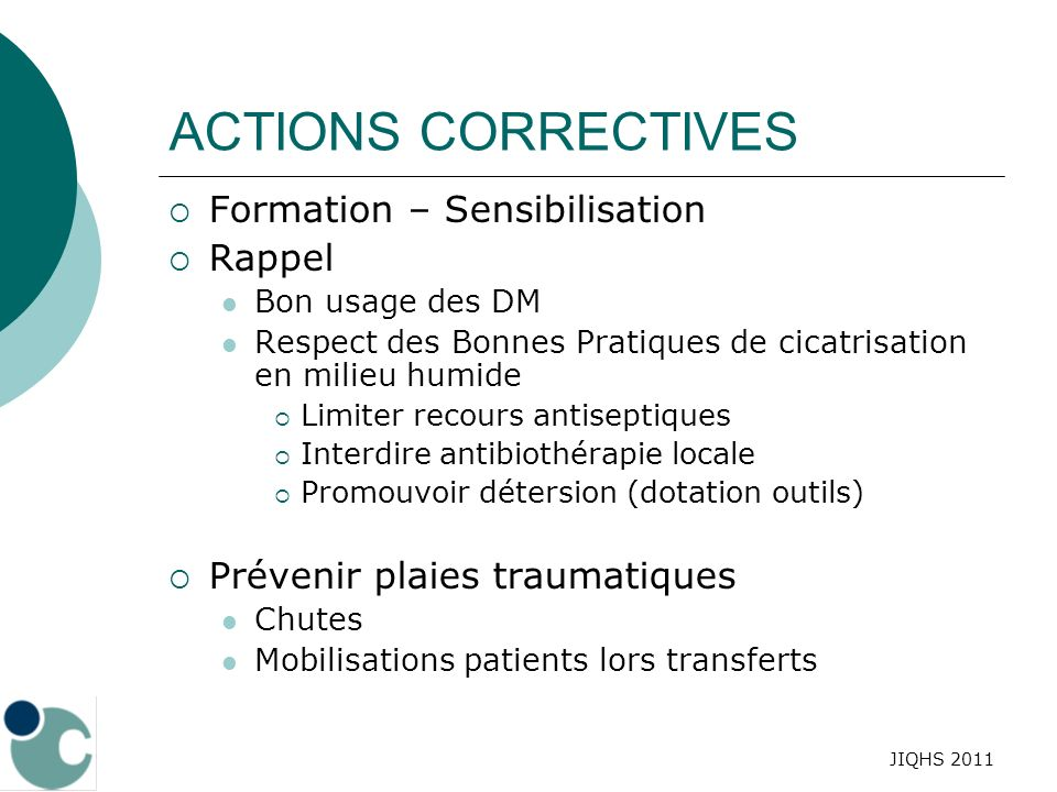 ACTIONS CORRECTIVES Formation – Sensibilisation Rappel