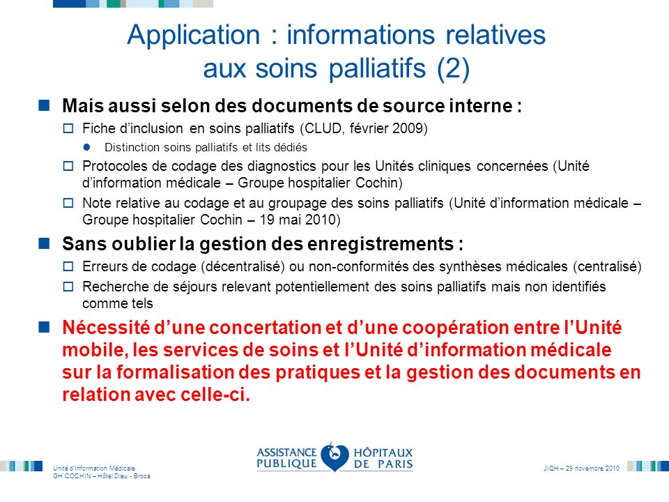 Application : informations relatives aux soins palliatifs (2)