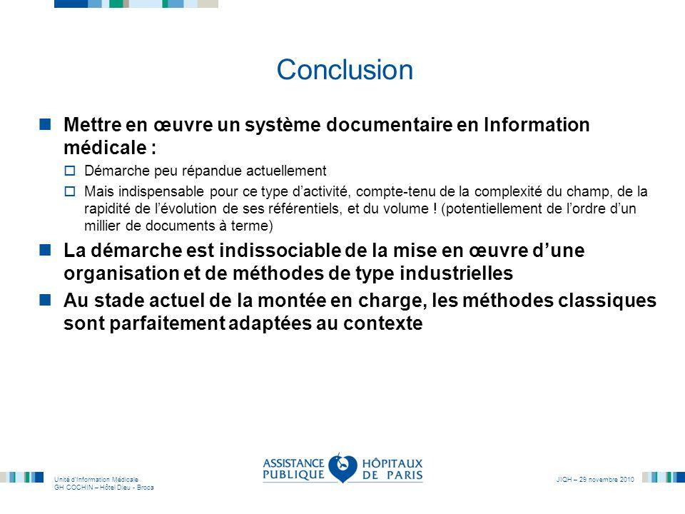 Conclusion Mettre en œuvre un système documentaire en Information médicale : Démarche peu répandue actuellement.