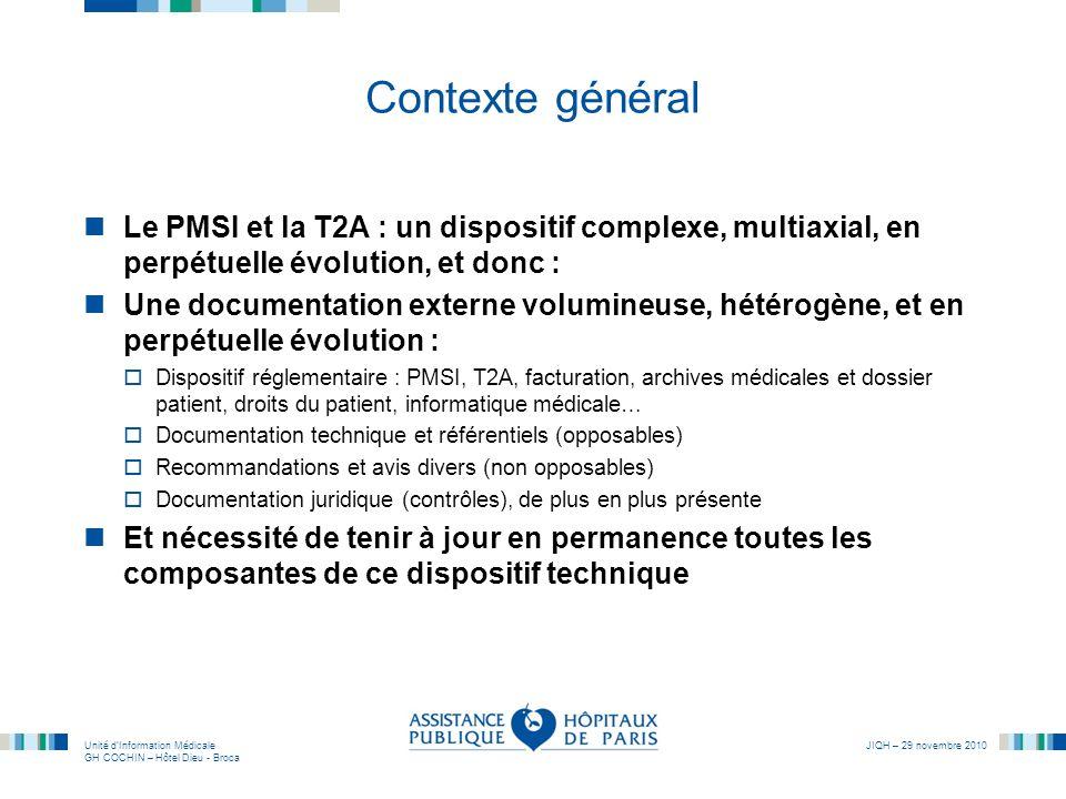 Contexte généralLe PMSI et la T2A : un dispositif complexe, multiaxial, en perpétuelle évolution, et donc :