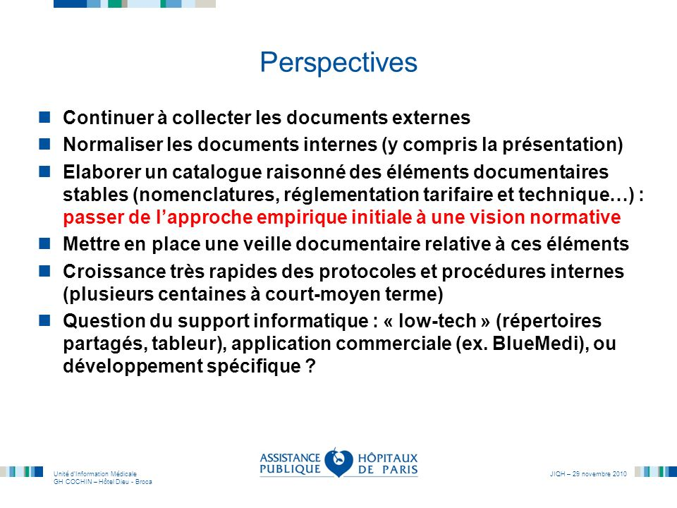 Perspectives Continuer à collecter les documents externes