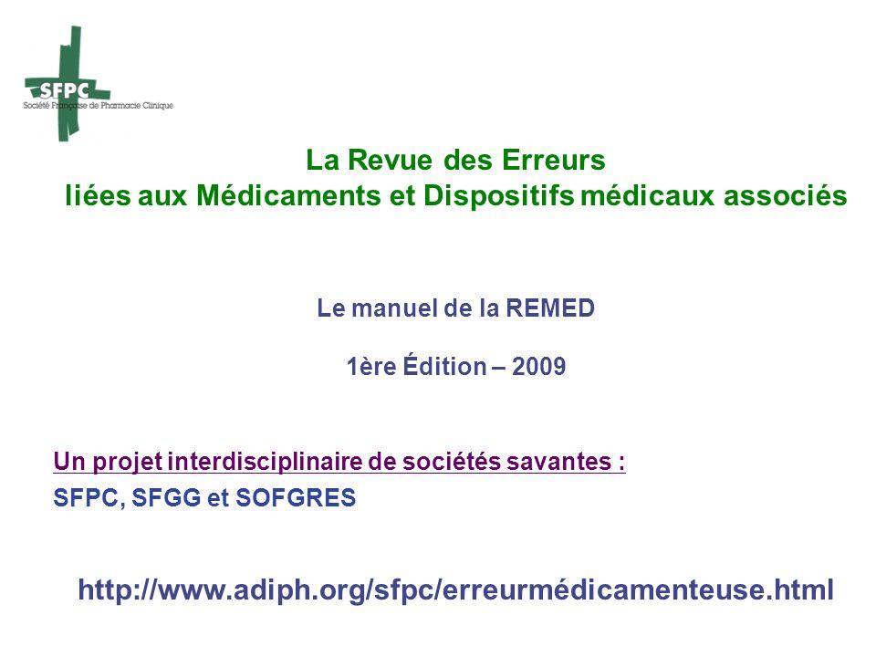 liées aux Médicaments et Dispositifs médicaux associés