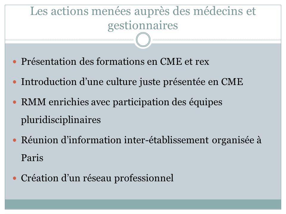 Les actions menées auprès des médecins et gestionnaires