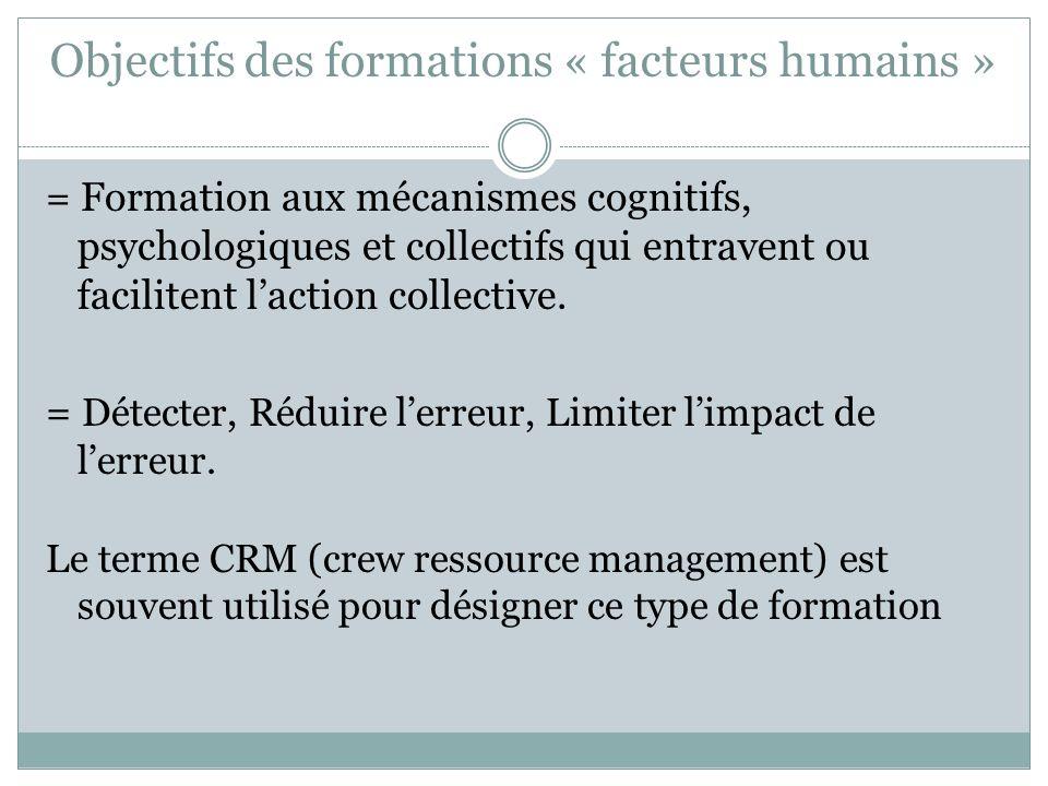Objectifs des formations « facteurs humains »