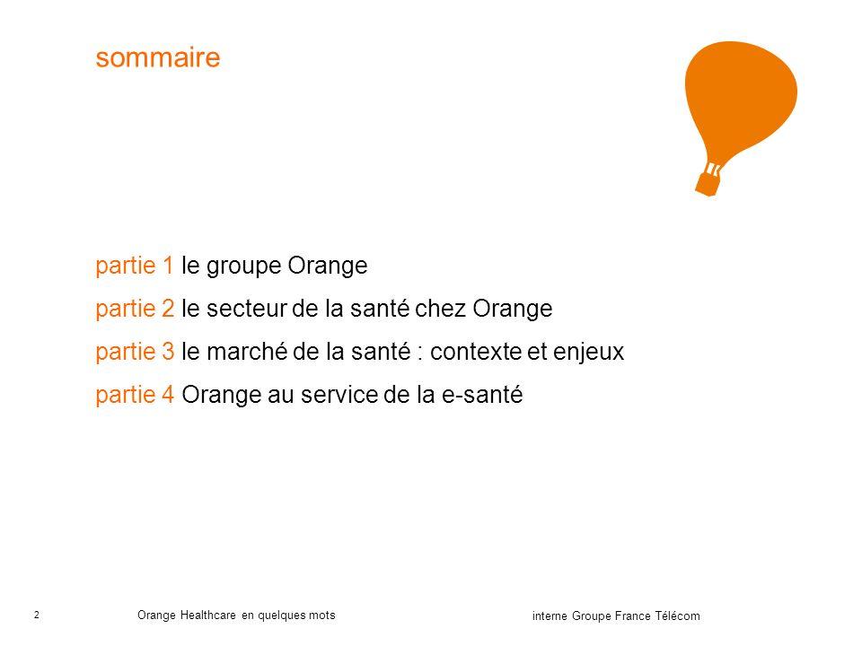 sommaire partie 1 le groupe Orange