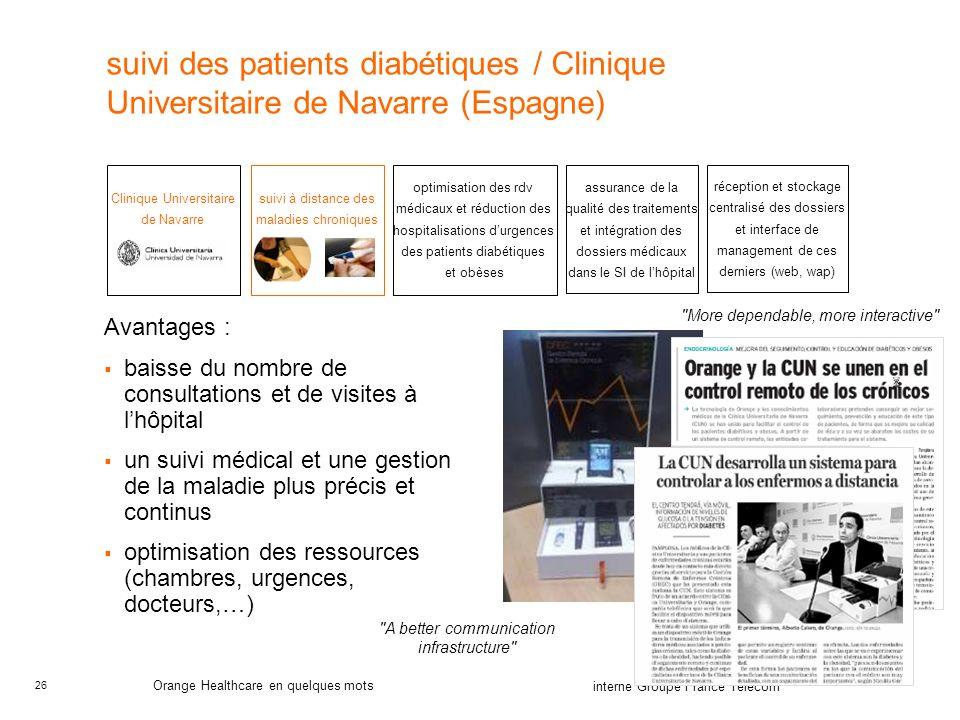 suivi des patients diabétiques / Clinique Universitaire de Navarre (Espagne)