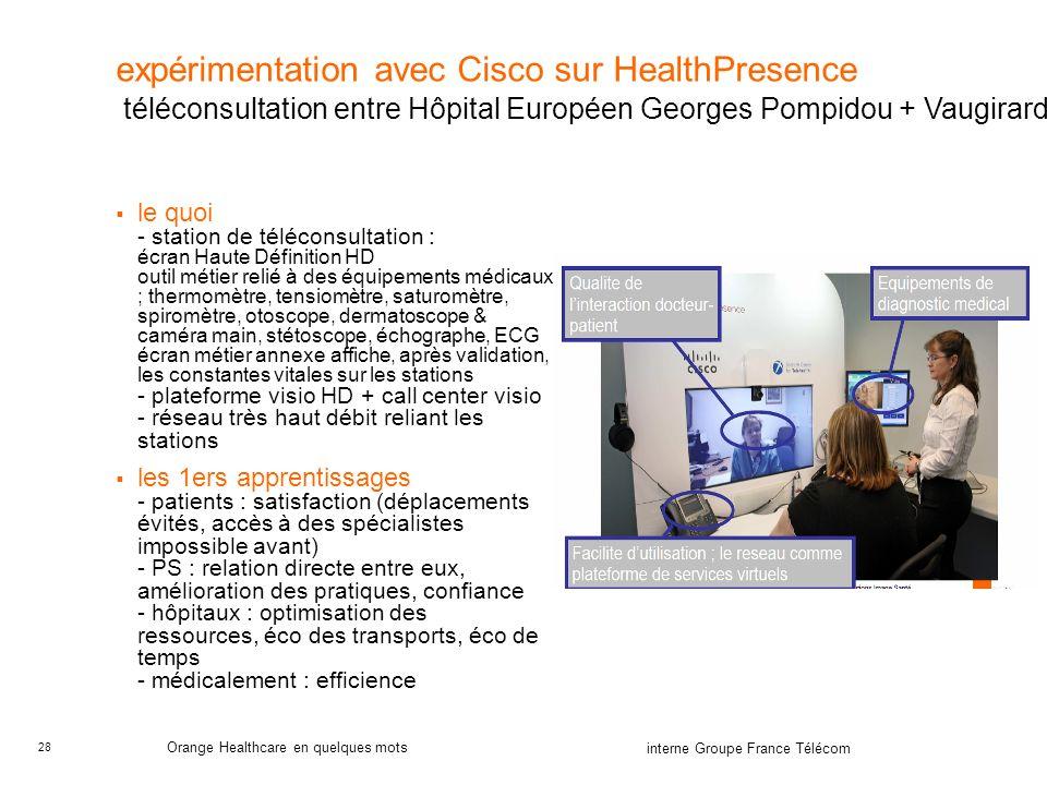 expérimentation avec Cisco sur HealthPresence