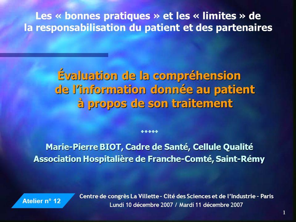Les « bonnes pratiques » et les « limites » de la responsabilisation du patient et des partenaires