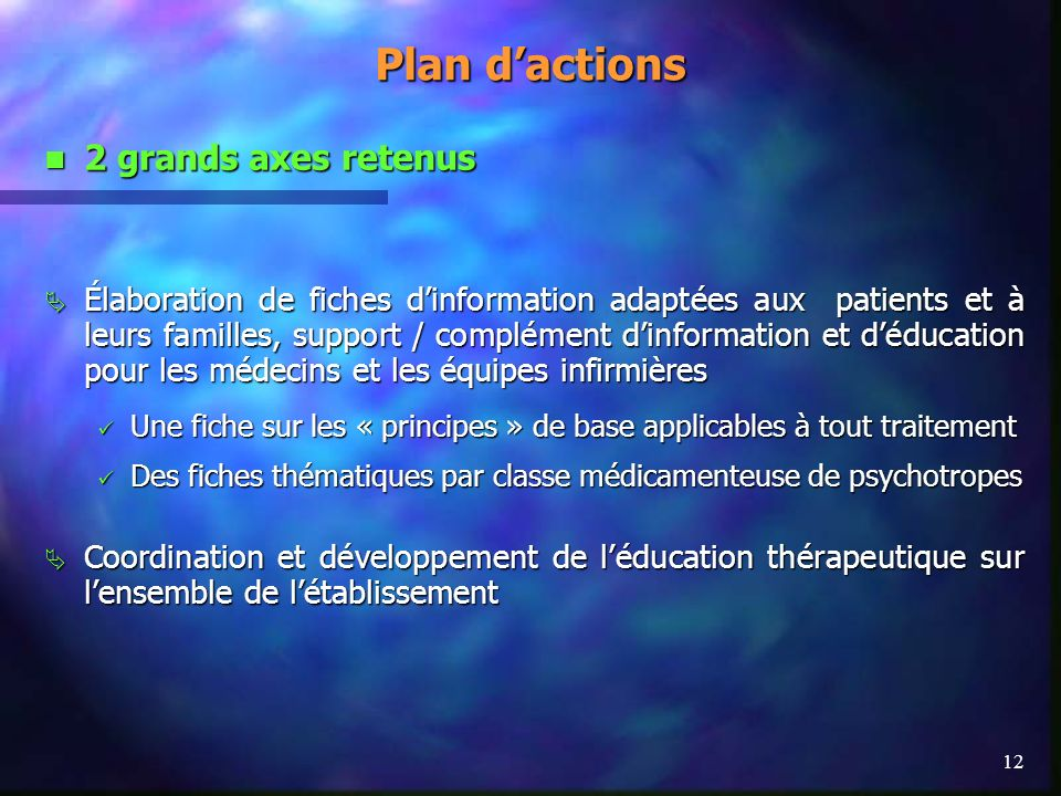 Plan d'actions 2 grands axes retenus