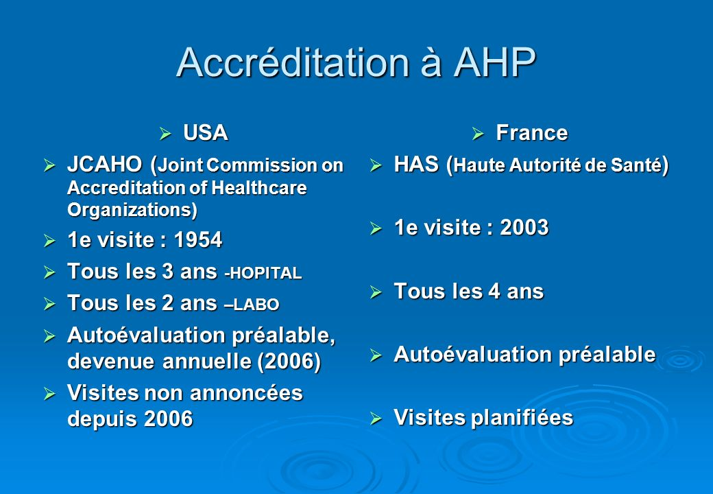 Accréditation à AHP USA