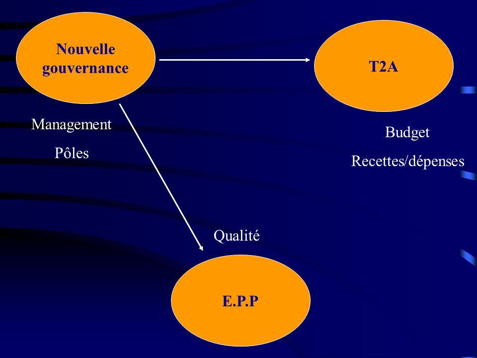 Nouvelle gouvernance T2A Management Pôles Budget Recettes/dépenses Qualité E.P.P