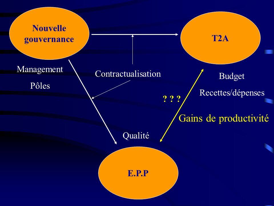 Gains de productivité Nouvelle gouvernance T2A Management Pôles
